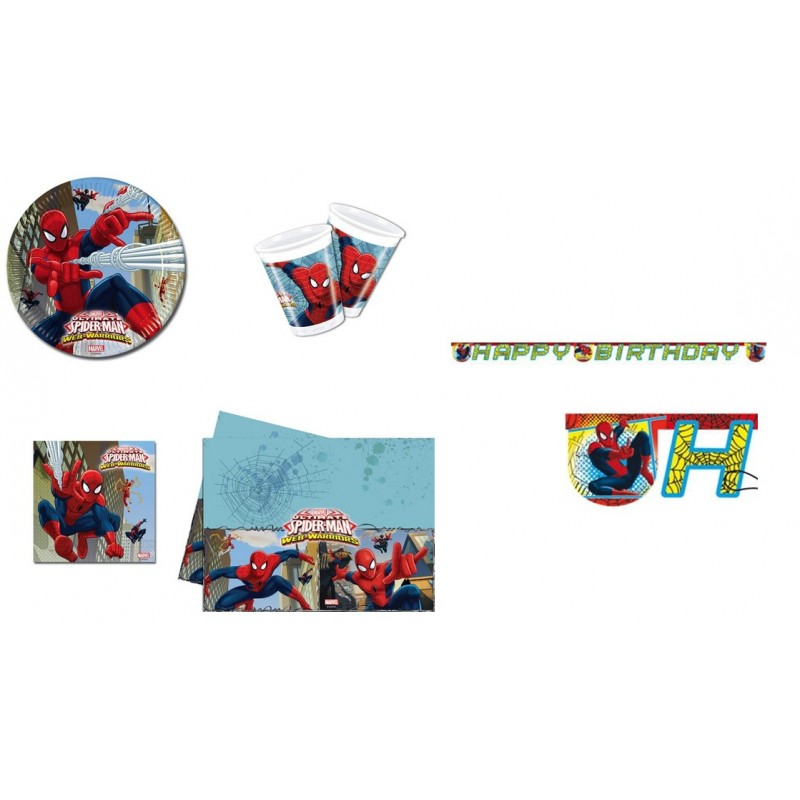 KIT N 13 COORDINATO COMPLEANNO SPIDERMAN WEB WARRIORS UOMO RAGNO SET PARTY BIMBO
