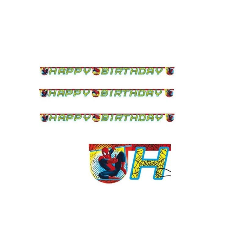GHIRLANDA FESTONE HAPPY BIRTHDAY SPIDERMAN WEB WARRIORS BUON COMPLEANNO BAMBINO 81531
