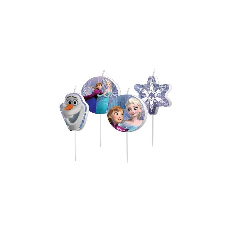 4 MINI CANDELINE IN CERA TEMA FROZEN ACCESSORIO DECORAZIONE TORTA CAKE BIMBA