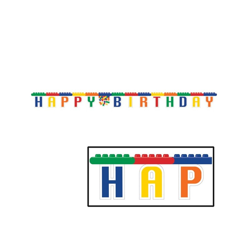 "315260 GHIRLANDA "" HAPPY BIRTHDAY "" BLOCK PARTY DECORAZIONE FESTA ADDOBBI LEGO"