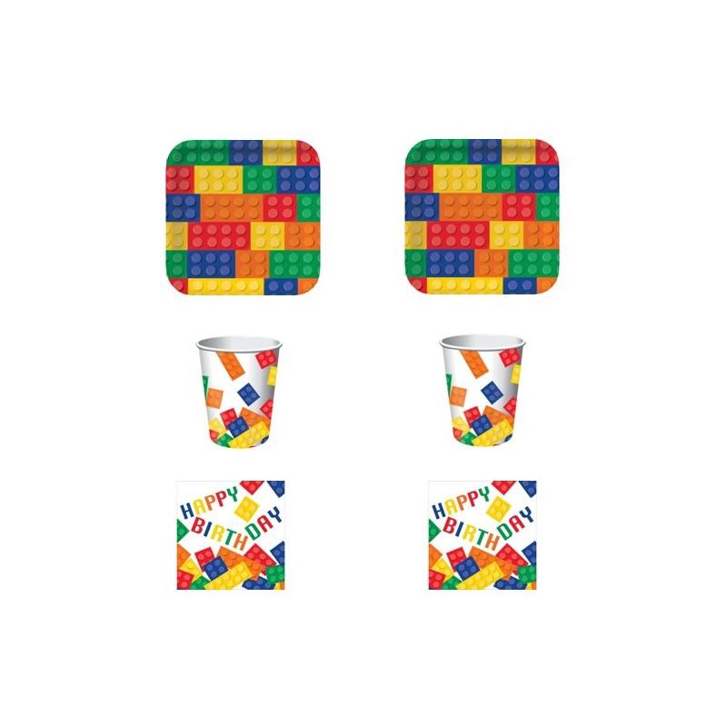 KIT N 2 COORDINATO COMPLEANNO TEMA BLOCK PARTY LEGO SET TAVOLA COSTRUZIONI FESTA