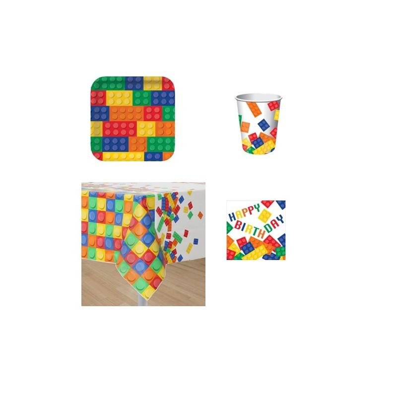 KIT N3 COORDINATO TAVOLA BLOCK PARTY LEGO DECORAZIONE TAVOLA FESTA COSTRUZIONI