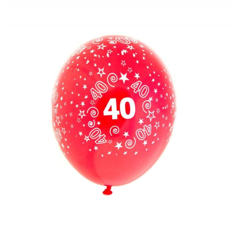 """100 PALLONCINI MEDIUM IN LATTICE """" 40 """" ANNI COLORI ASSORTITI FESTA COMPLEANNO"""