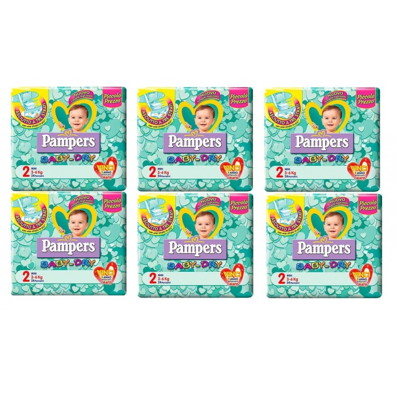 6 PACCHI PANNOLINI PAMPERS BABY DRY TAGLIA 3 120 PEZZI