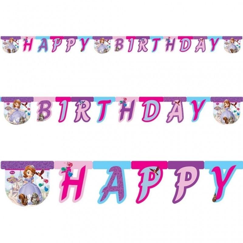 82402 GHIRLANDA FESTONE PRINCIPESSA SOFIA HAPPY BIRTHDAY ADDOBBI COMPLEANNO