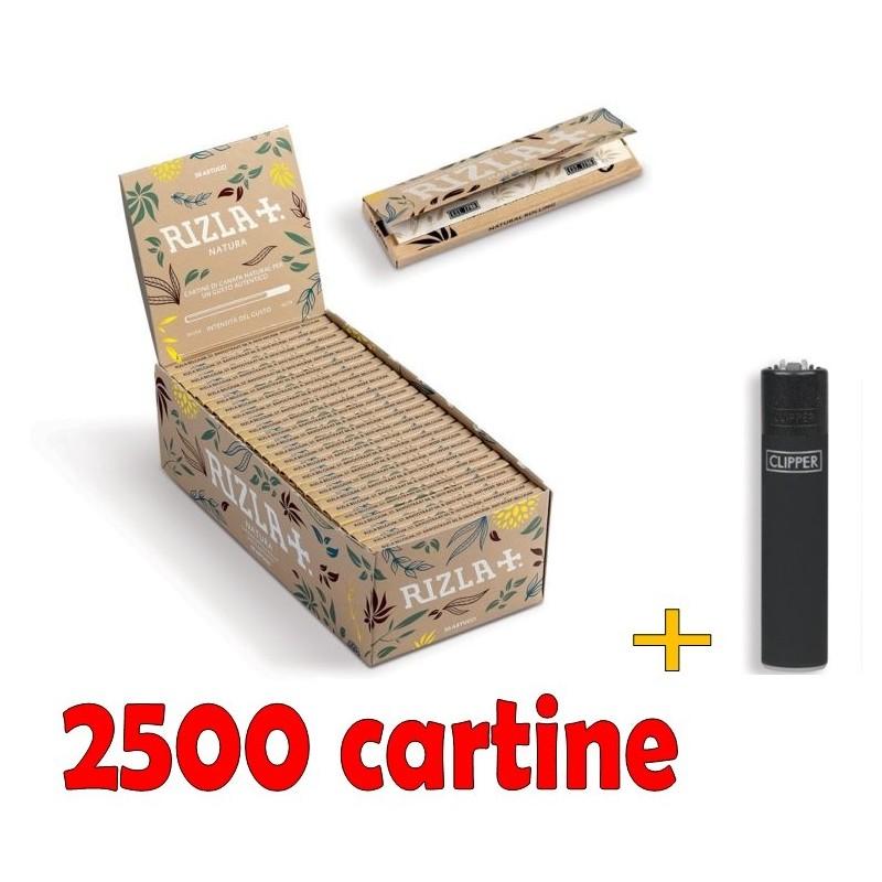 BOX 50 LIBRETTI DI CARTINE RIZLA BIANCHE CORTE + ACCENDINO CLIPPER