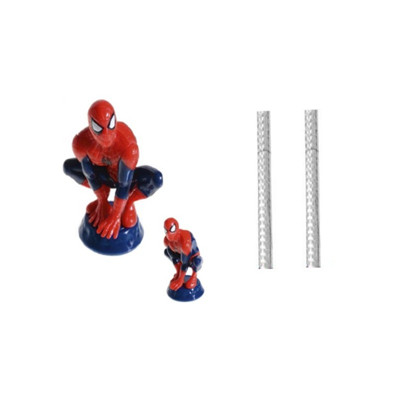 SET DECORAZIONE TORTA SPIDERMAN 41027 + 2 CANDELE FONTA DECORI TORTA