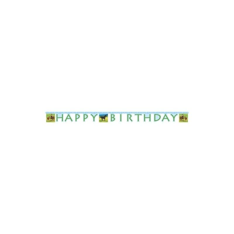 "GHIRLANDA "" HAPPY BIRTHDAY "" CAVALLI FESTONE ADDOBBO FESTA HORSES CAVALLO HORSE"