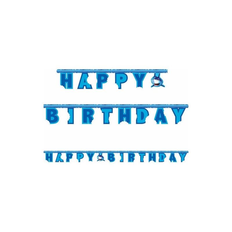 GHIRLANDA FESTONE HAPPY BIRTHDAY SQUALI SHARK SPLASH COMPLEANNO FESTA ADDOBBI