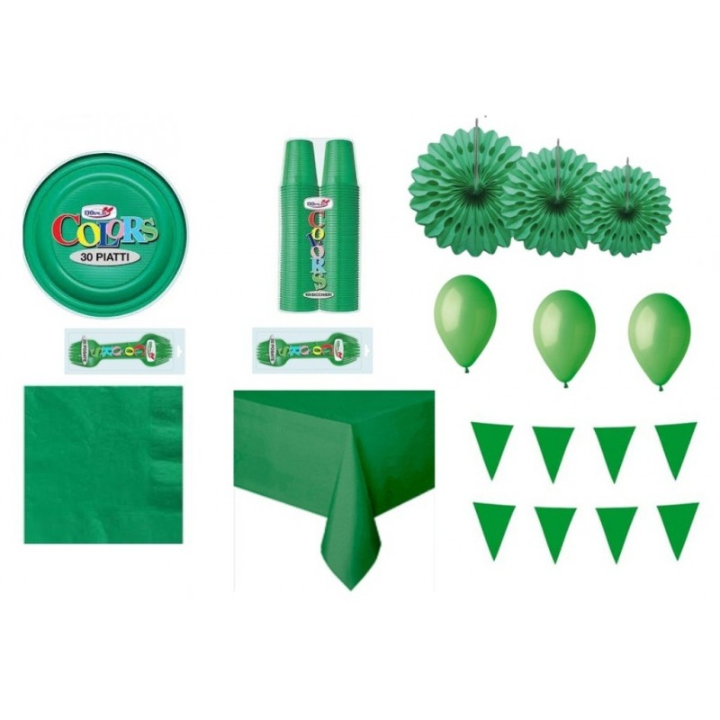 IRPot - KIT N 36 MONOCOLORE VERDE ADDOBBI FESTA COMPLEANNO PARTY DECORAZIONI ROSONE