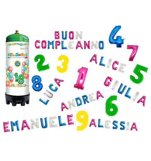 KIT BOMBOLA ELIO 2,2 L + 1 PALLONCINO NUMERI 0-9 + LETTERE MAX.10 PZ
