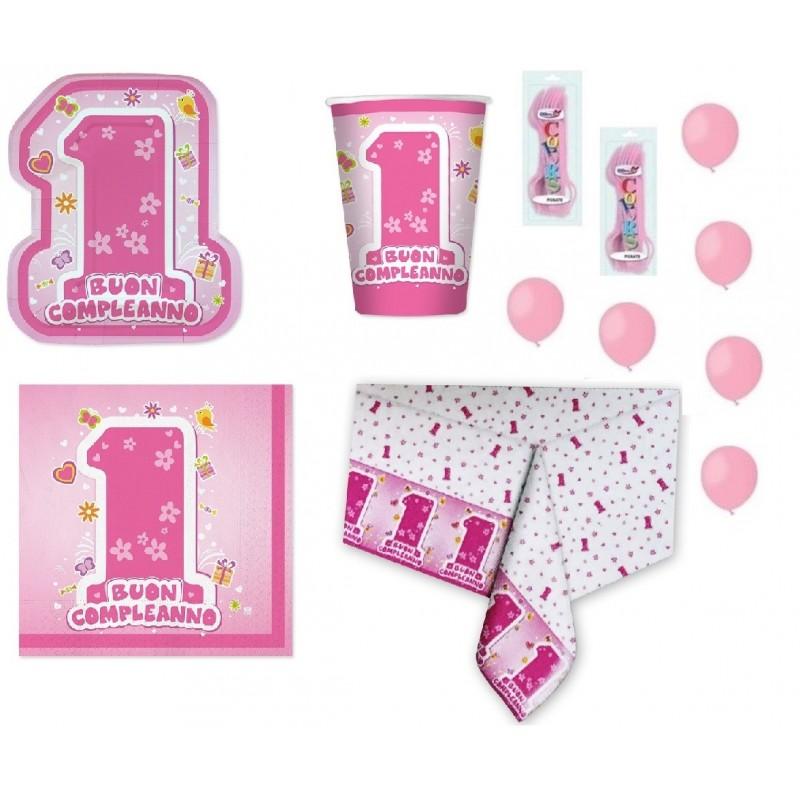 KIT 6 - KIT 205 PZ. COORDINATO COMPLEANNO 1 ANNO BIRTHDAY GIRLS + FORCHETTE E PALLONCINI ROSA