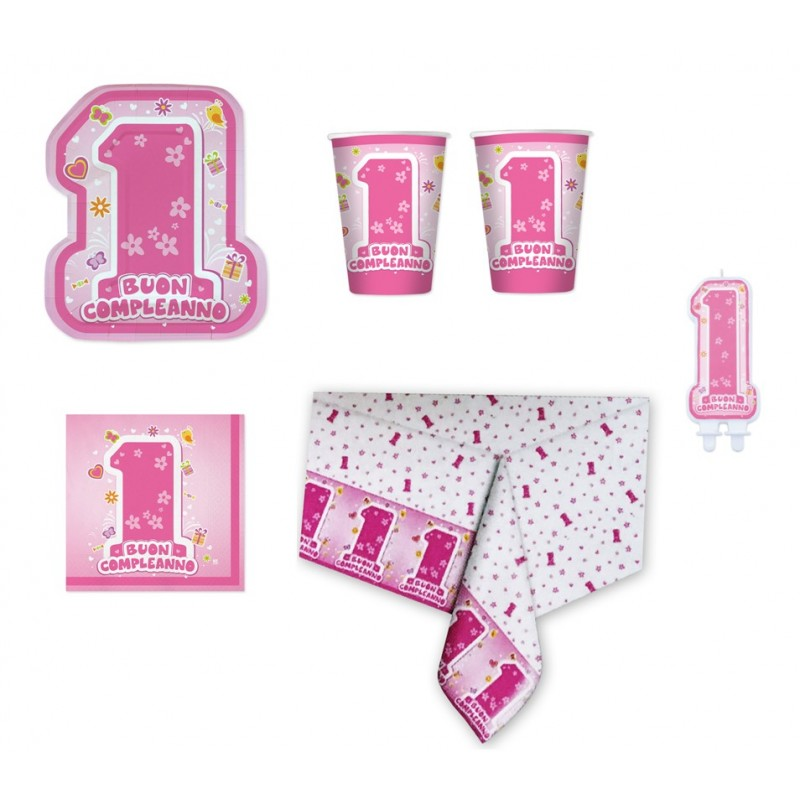 IRPot - KIT N 24 BUON PRIMO COMPLEANNO BAMBINA 1 ANNO ONE PINK CON CANDELINA
