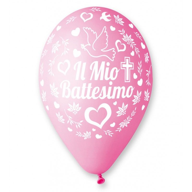 """IRPot - 100 PALLONCINI IN LATTICE """" IL MIO BATTESIMO CUORE ROSA """" 11921-159"""