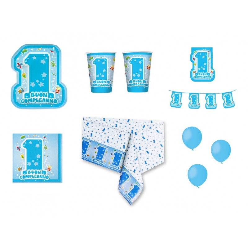 IRPot - KIT N 1 COORDINATO 1 ANNO ONE LIGHT BLUE PRIMO COMPLEANNO BAMBINO PARTY
