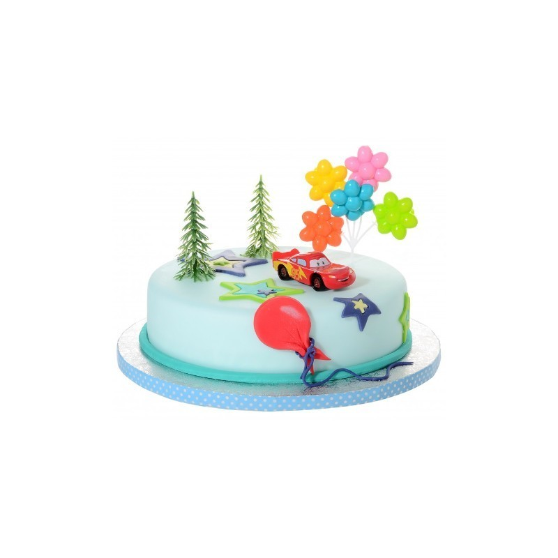 21912 KIT DECORAZIONE TORTA COMPLEANNI BAMBINO CARS SAETTA MC QUEEN SET CAKE