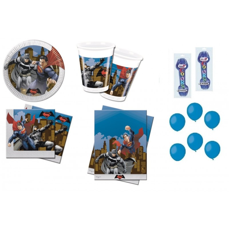 KIT 7 - 213 PZ. BATMAN + FORCHETTE E PALLONCINI GIALLI