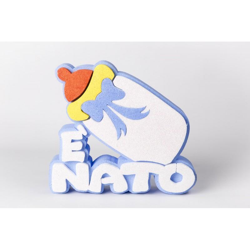 DECORAZIONE E' NATO NASCITA GLITTERATA IN POLISTIROLO BIBERON CELESTE CI114