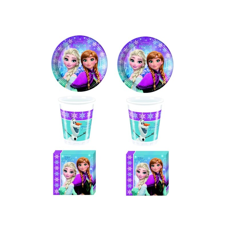 FROZEN NORTHEN COORDINATO COMPLEANNO KIT N 2 BAMBINA OLAF ANNA ELSA