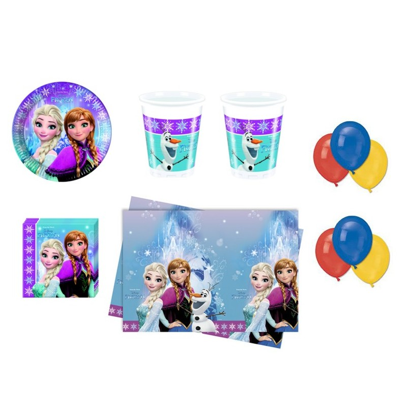 COORDINATO FROZEN NORTHEN COMPLEANNO KIT N 4 BAMBINA PALLONCINI PARTY