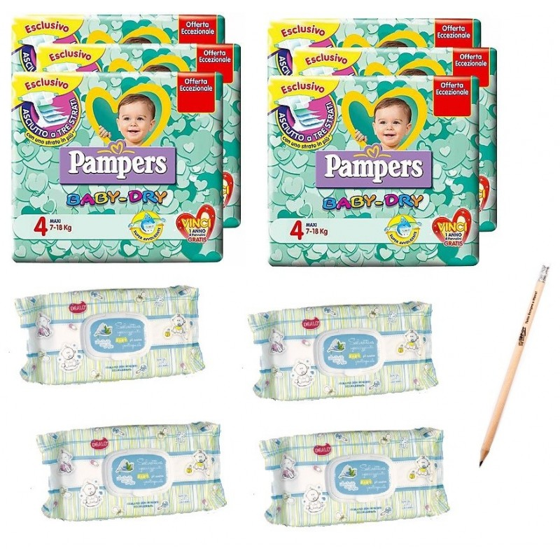 PAMPERS BABY DRY TAGLIA 4 + NSALVIETTINE DEALO