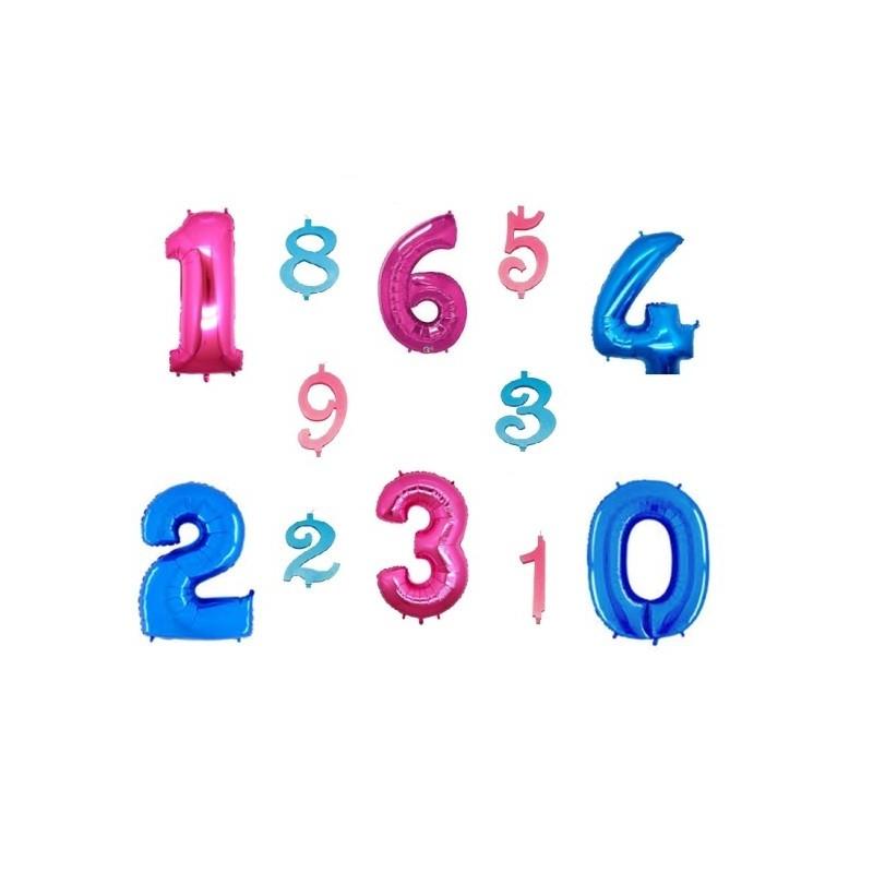 1 PALLONCINO NUMERO FOIL + 1 CANDELINA NUMERALE  IN CERA MAXI 15 CM
