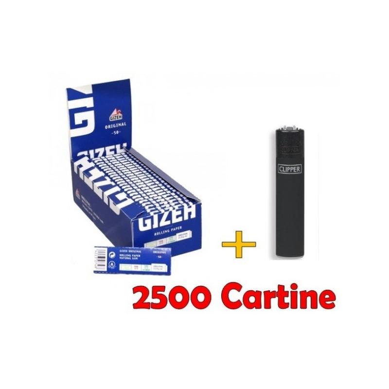BOX 50 LIBRETTI CARTINE GIZEH SUPER FINE CORTE BLU + ACCENDINO