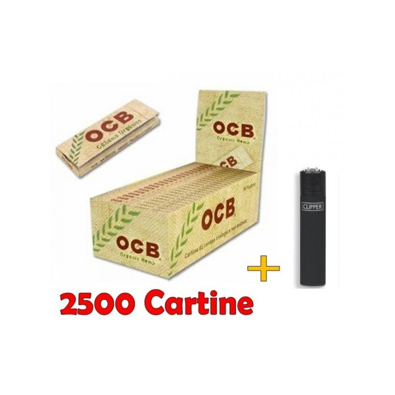 BOX 50 CARTINE OCB ORGANIC HEMP CORTE CANAPA BIOLOGICA + ACCENDINO