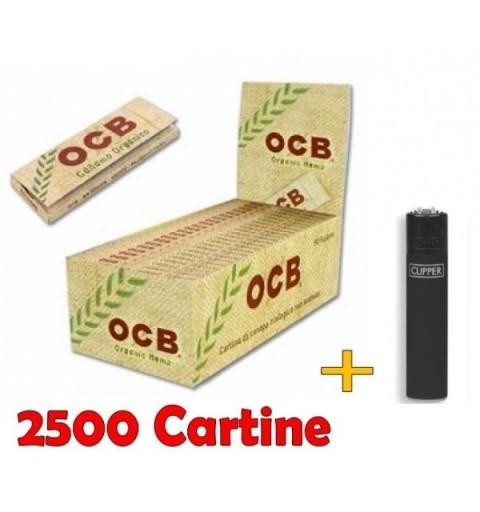 BOX 50 CARTINE OCB ORGANIC HEMP CORTE CANAPA BIOLOGICA + ACCENDINO