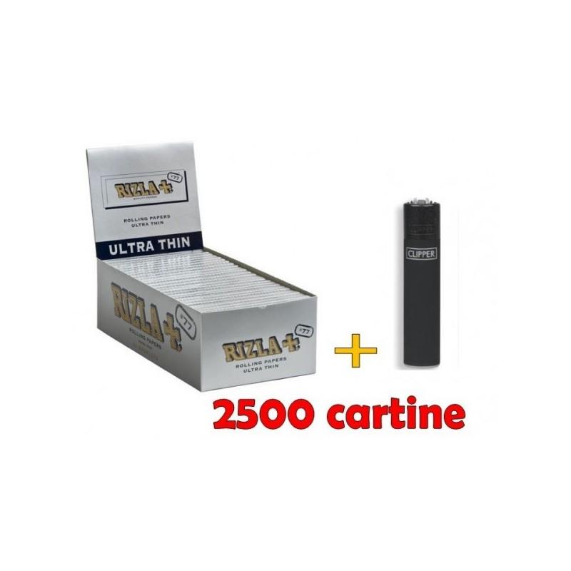 BOX DA 50 LIBRETTI CARTINE RIZLA SILVER LUNGHE + ACCENDINO
