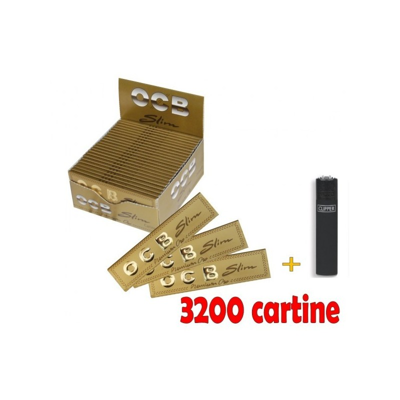 2 BOX DA 50 CARTINE OCB ORO PREMIUM SLIM LUNGHE + ACCENDINO