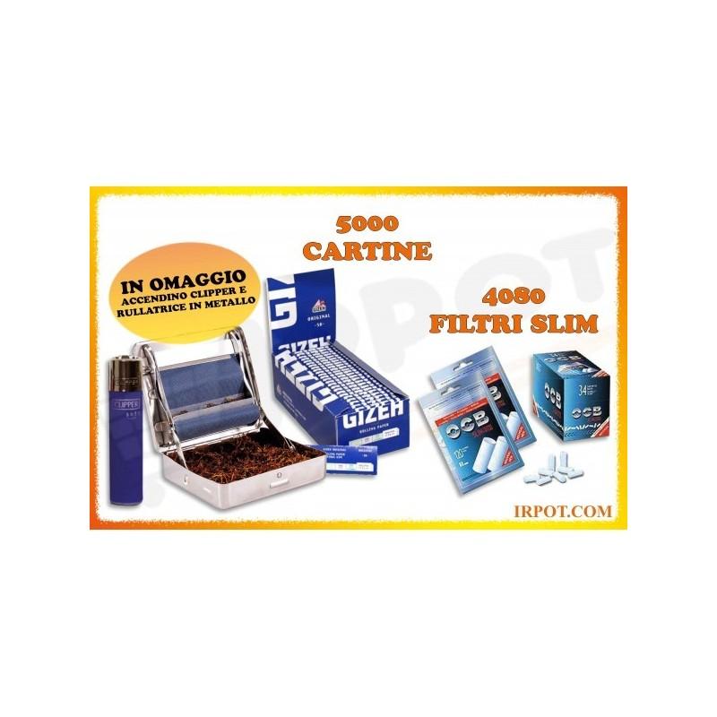 KIT 4080 FILTRI OCB SLIM 6 MM + 5000 CARTINE GIZEH ORIGINAL BLU CORTE + ROLLATORE + ACCENDINO