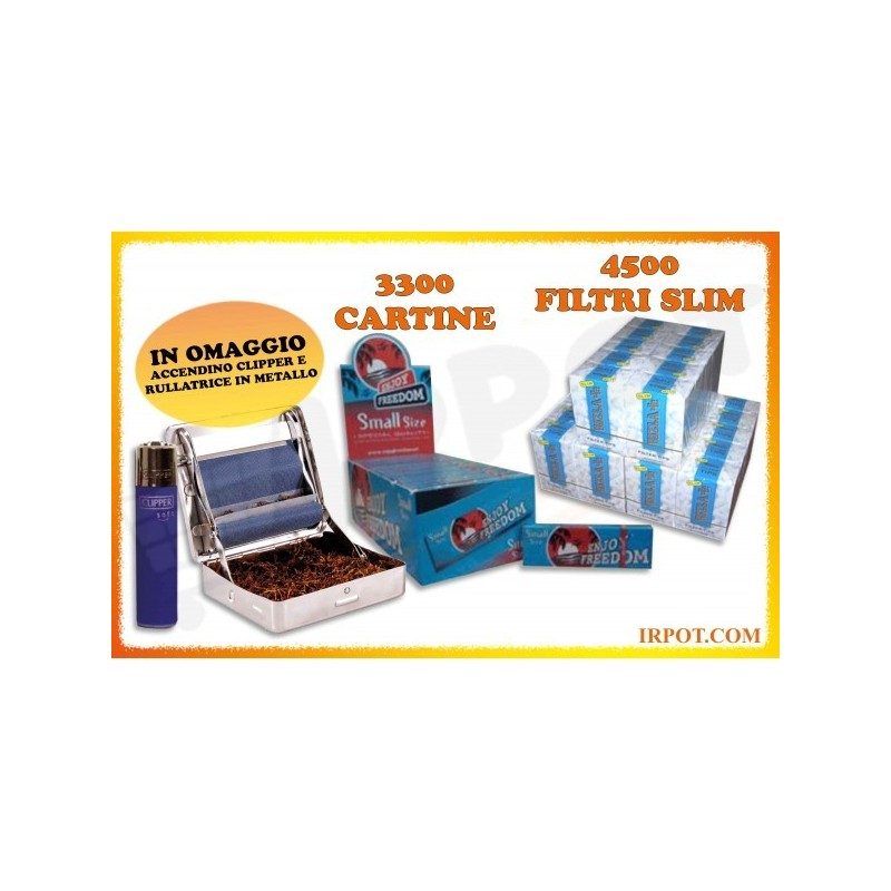 KIT 4500 FILTRI RIZLA SLIM + 3300 CARTINE BOX 66 LIBRETTI CARTINE ENJOY BLU + ROLLATORE + ACCENDINO