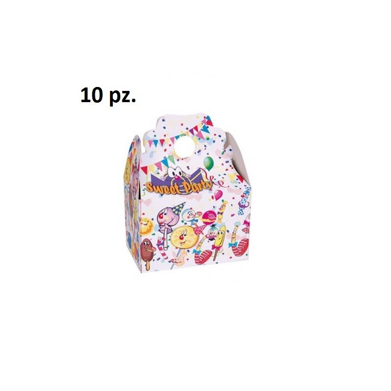 SCATOLE SWEET PARTY CARAMELLE BOX PORTA DOLCI 10 PZ GADGET REGALO FESTA
