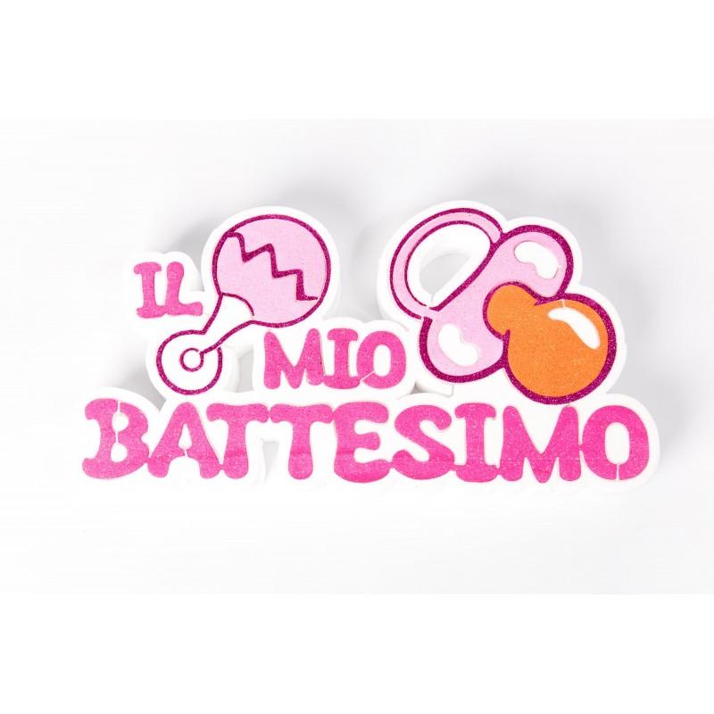 Decorazione Il Mio Battesimo Glitterata In Polistirolo Ciuccio Rosa