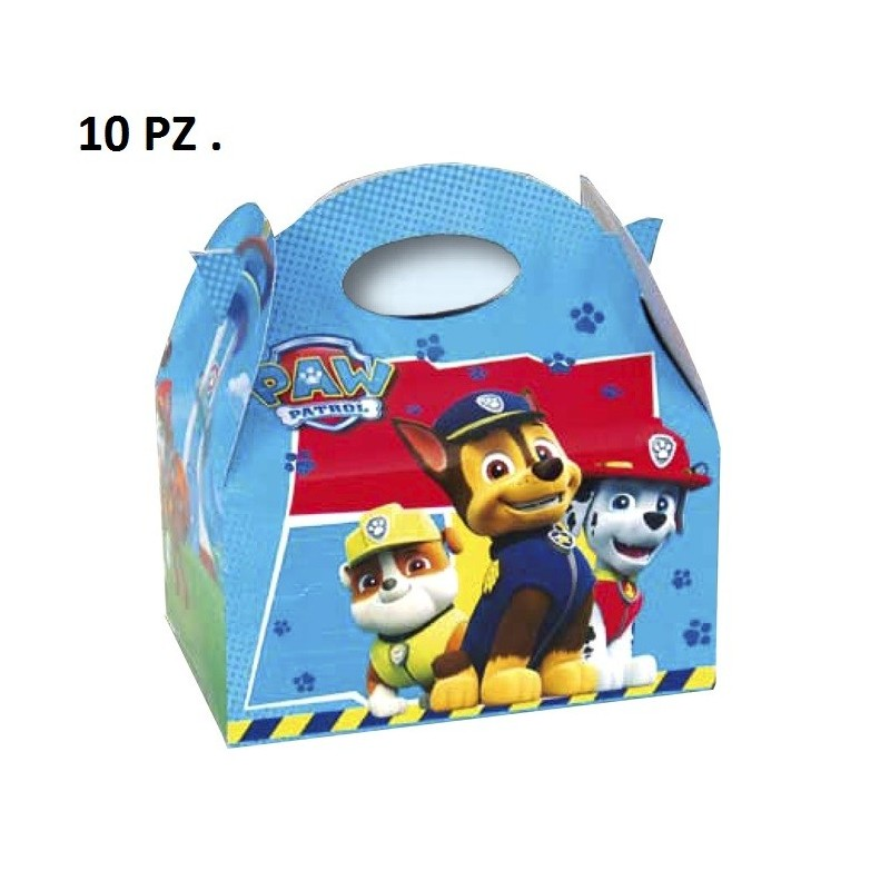 SCATOLE BOX PAW PATROL COMPLEANNO BAMBINO BAMBINI 10 PZ GADGET REGALO SWEET
