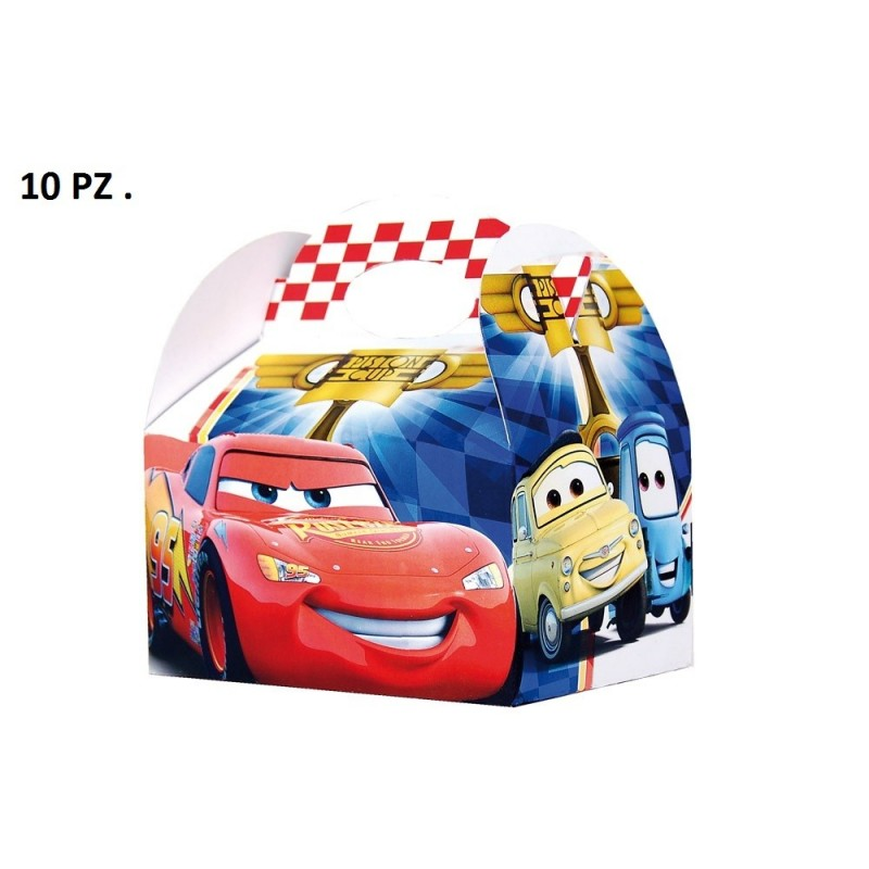 SCATOLE DISNEY CARS PISTON CUP BOX ACCESSORI 10 PZ GADGET COMPLEANNO BIMBO