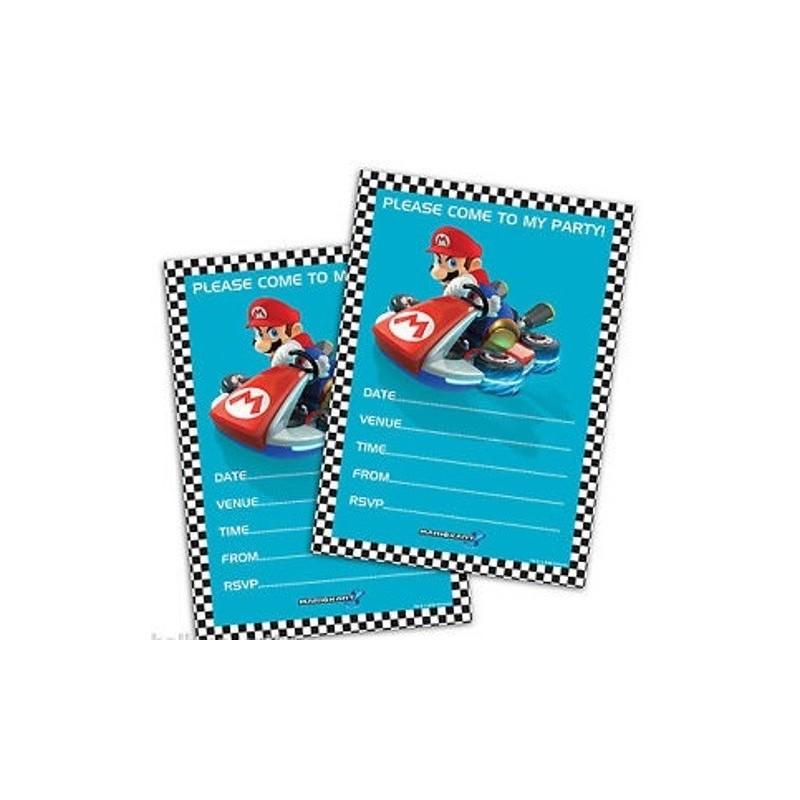 INVITI COMPLEANNO SUPER MARIO KART 20 PZ PIU' 20 BUSTINE BIANCHE