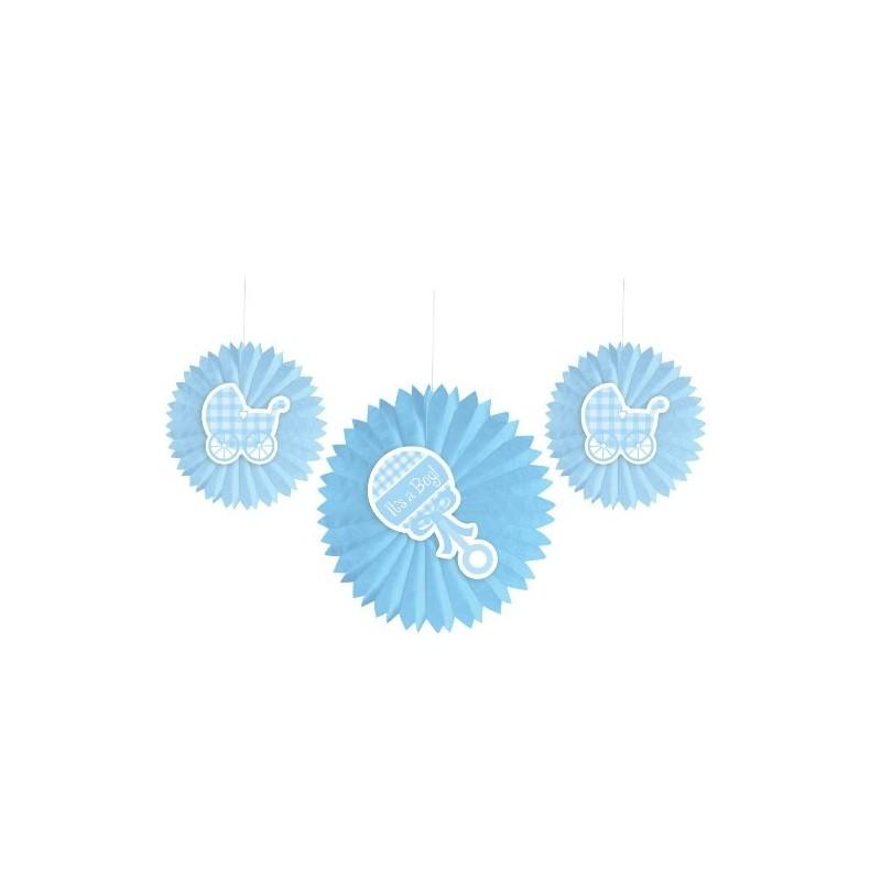 DECORAZIONI PENDENTI A VENTAGLIO 3 PZ SONAGLIO CULLA 033421 NASCITA BABY SHOWER