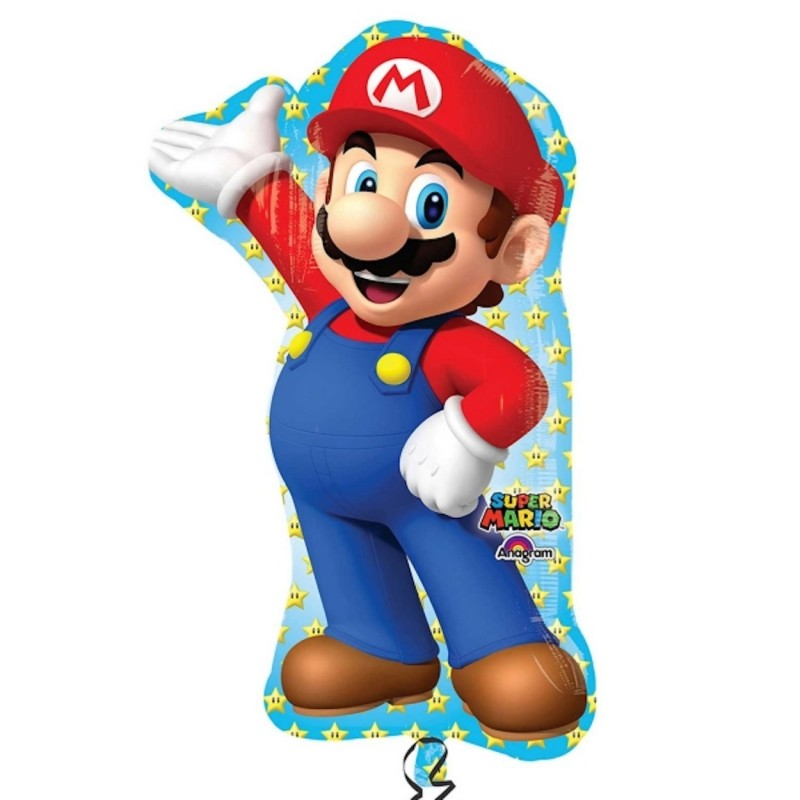 "PALLONCINO FOIL SUPER MARIO BROS 33"" SUPERSHAPE 32010 PALLONE ADDOBBO PARTY"