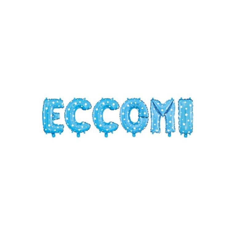 """COMPOSIZIONE LETTERE FOIL """" ECCOMI """" CELESTE"""