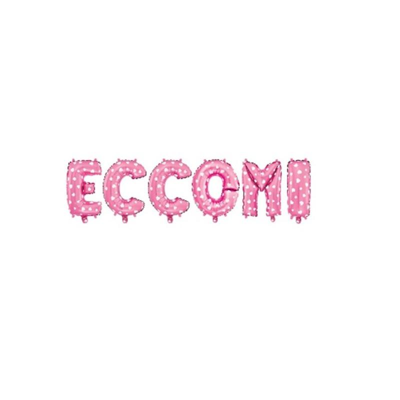 """COMPOSIZIONE PALLONCINI LETTERE FOIL """" ECCOMI """" ROSA"""