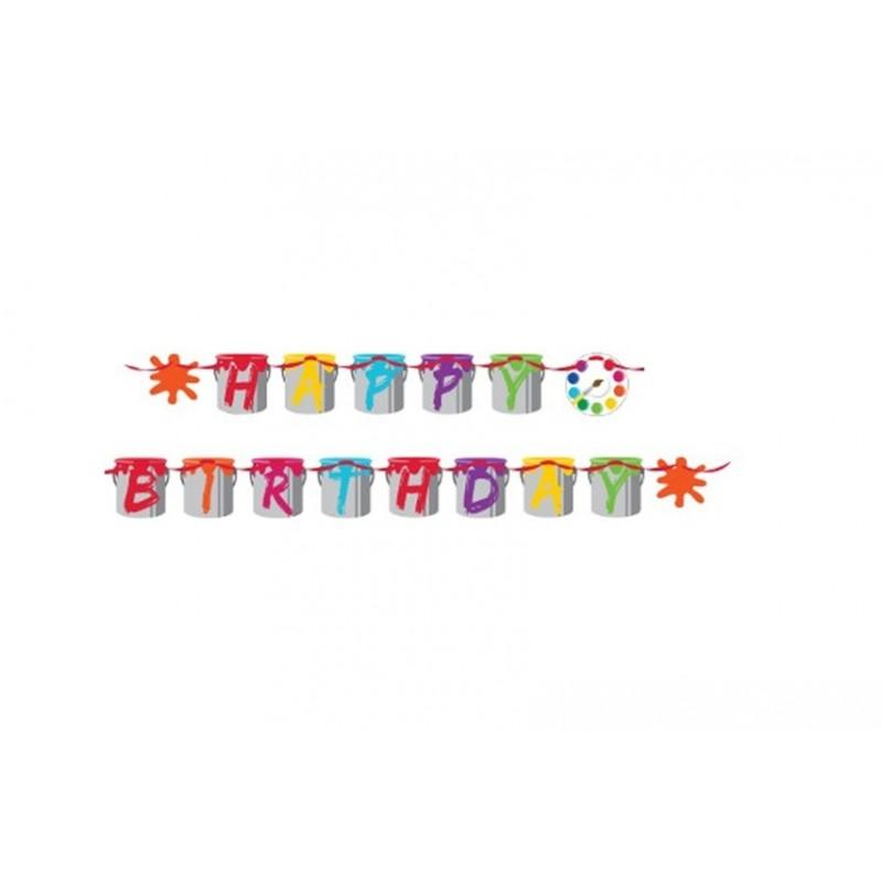 GHIRLANDA HAPPY BIRTHDAY ART PARTY - TAVOLOZZA 317729