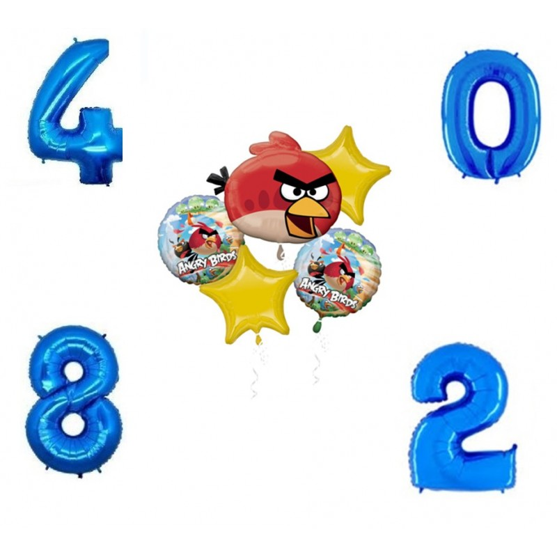 Bouquet Palloncini Angry Birds + 1 Numero Foil
