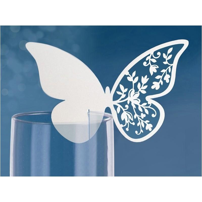 segnaposto farfalle carta perlata per bicchieri