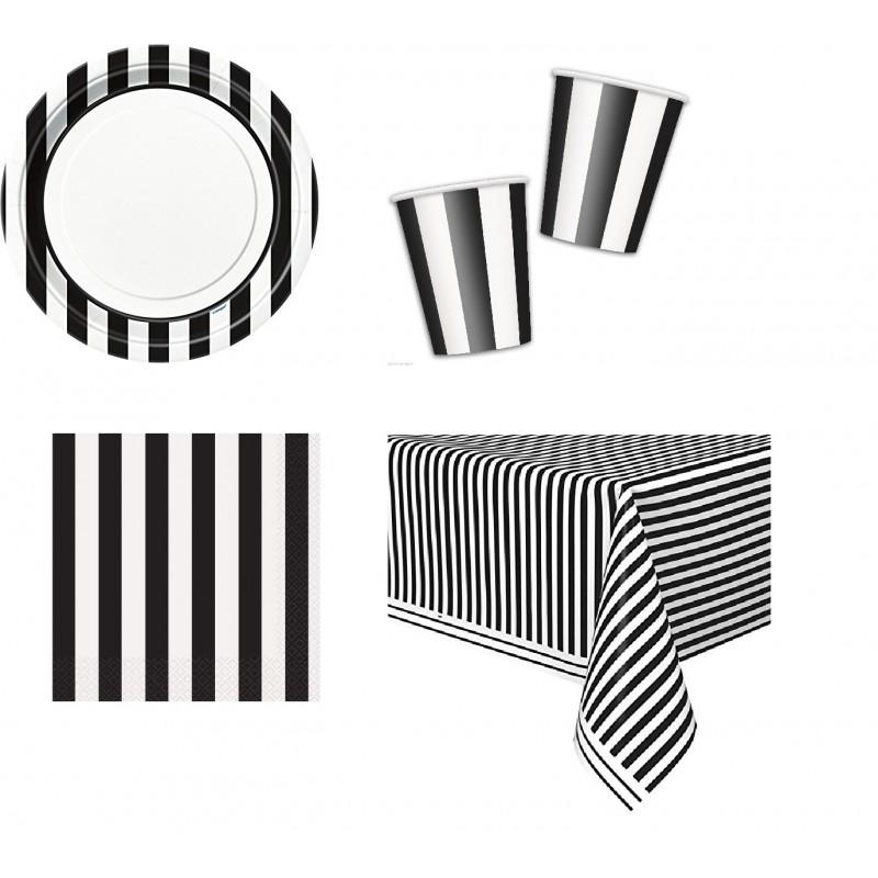 coordinato tavola strisce bianche e nere
