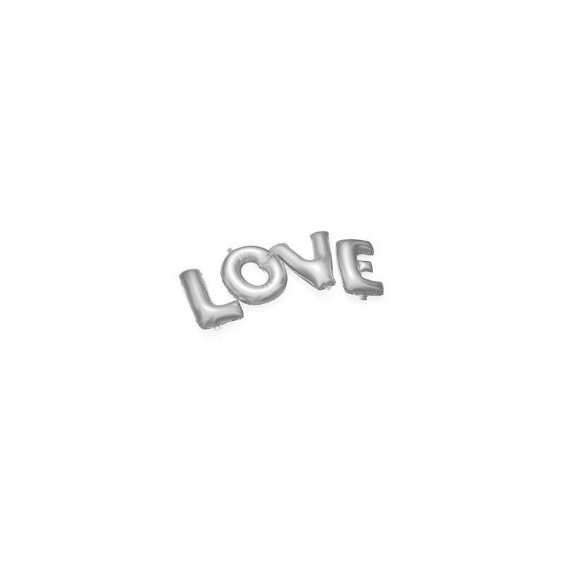 scritta love argento silver