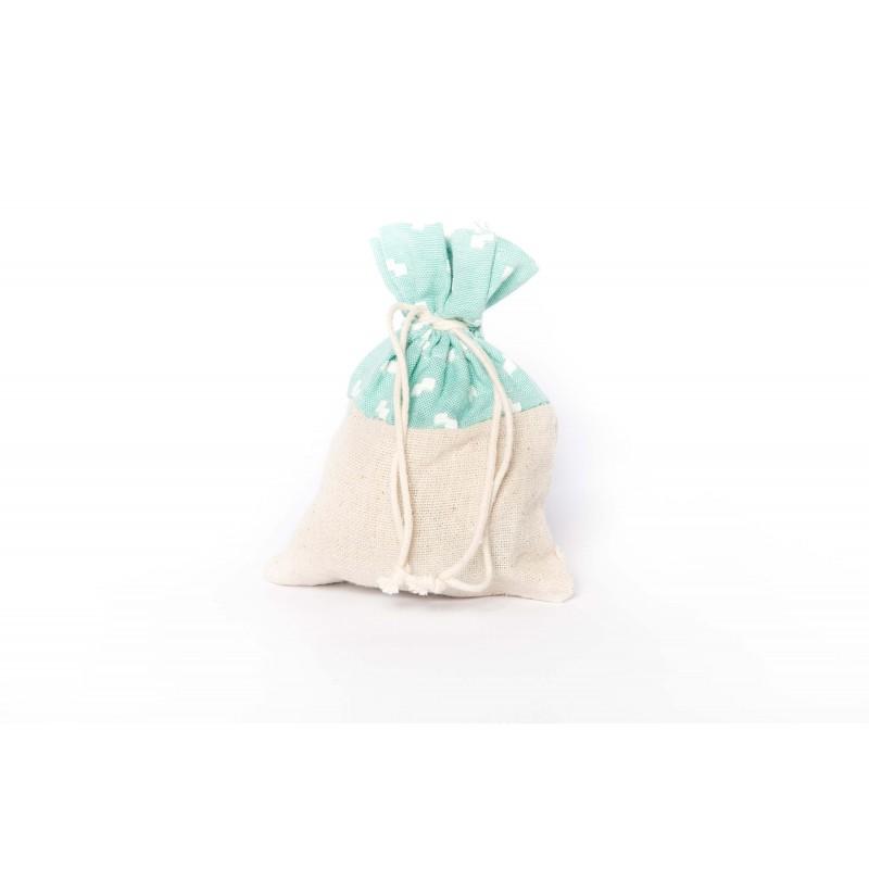 sacchetti lino beige verde tiffany portaconfetti
