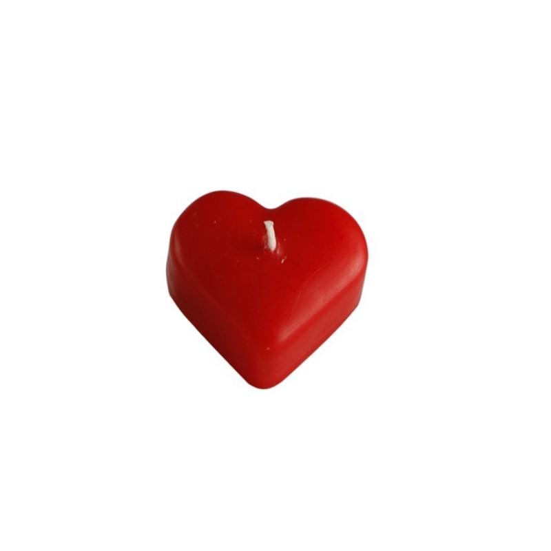 candela cuore rossa