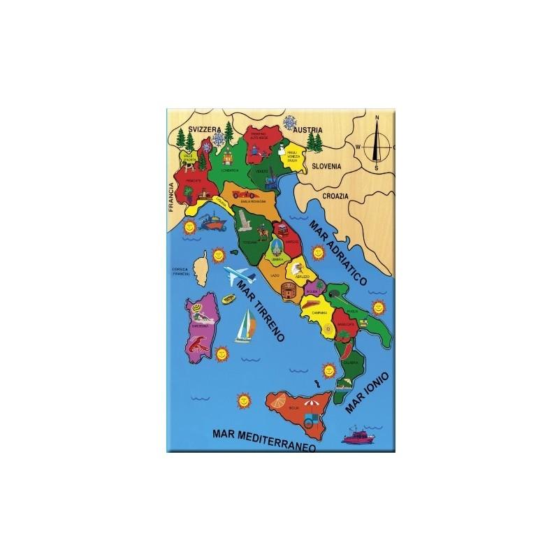 PUZZLE ITALIA IN LEGNO GIOCO DIDATTICO CP003